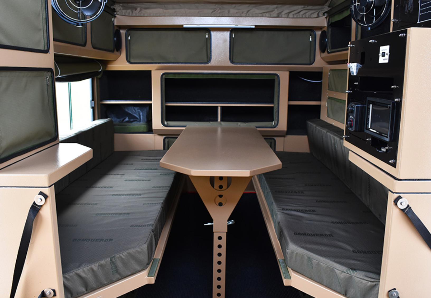 small travel trailers - conqueror overland sofas