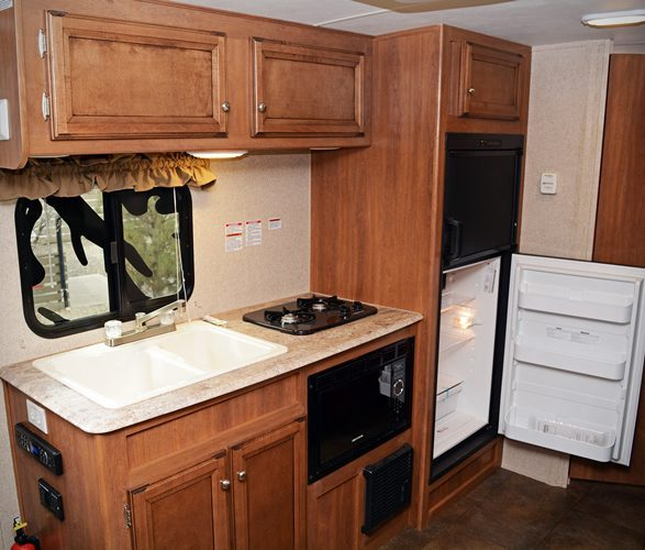off grid rv interior - a little dated but still functional