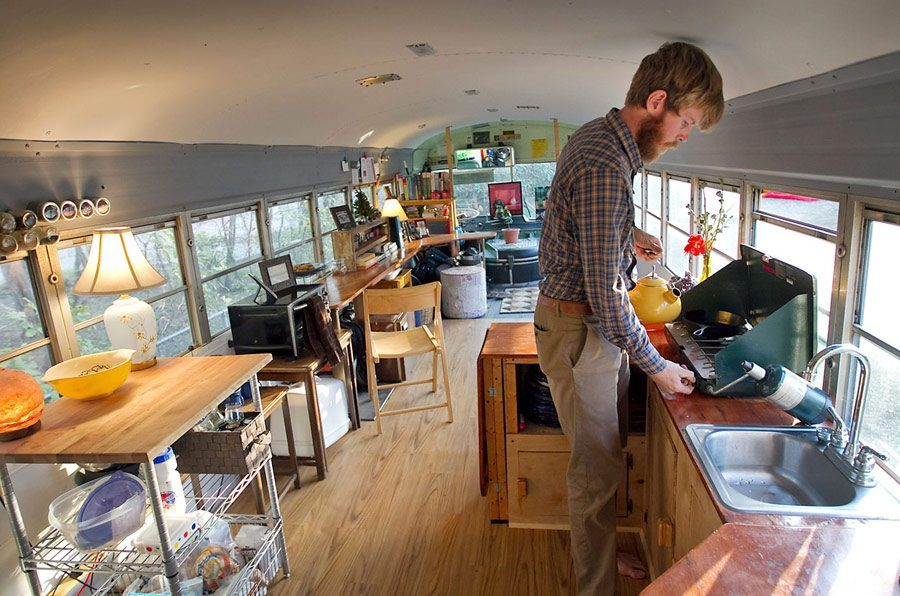 Top Tiny Homes - Inside the school bus