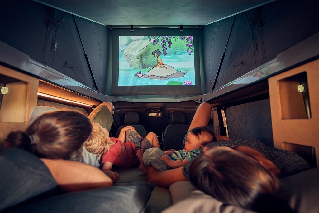 Watching a film in the camper