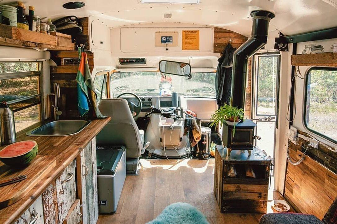 Best van to live in - school bus interior
