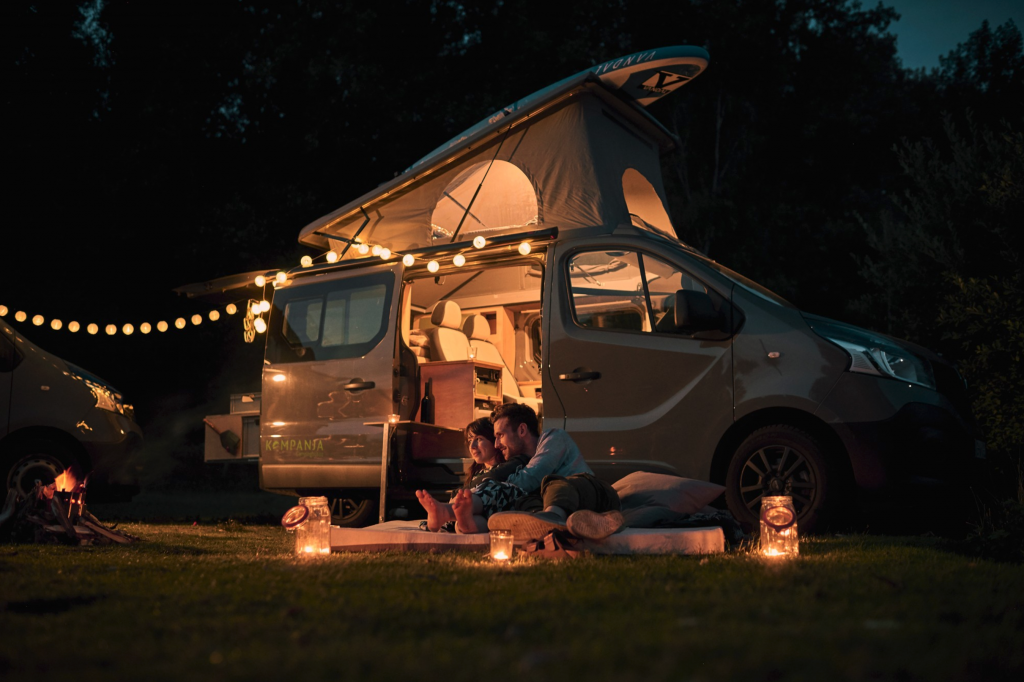 Camper with fairy lights