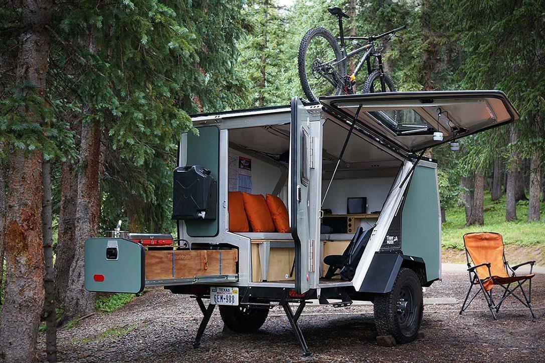 camper trailer - bicycle