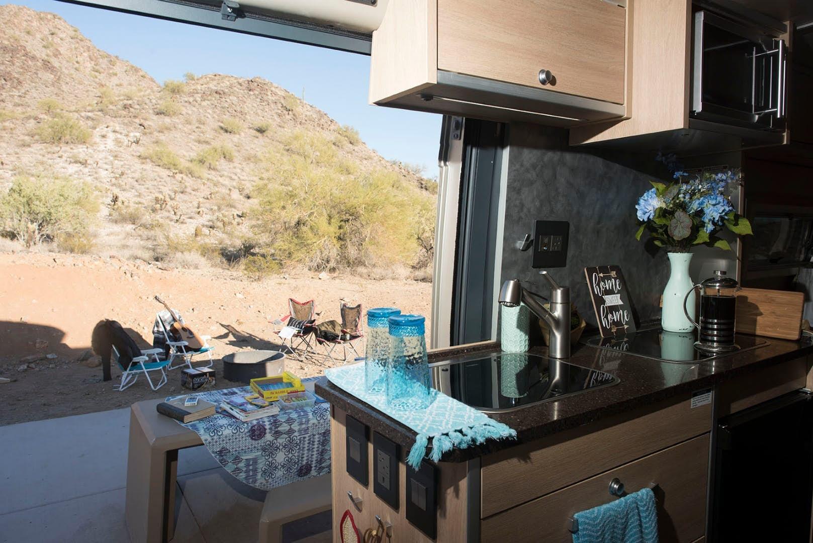 pop top camper - kitchen