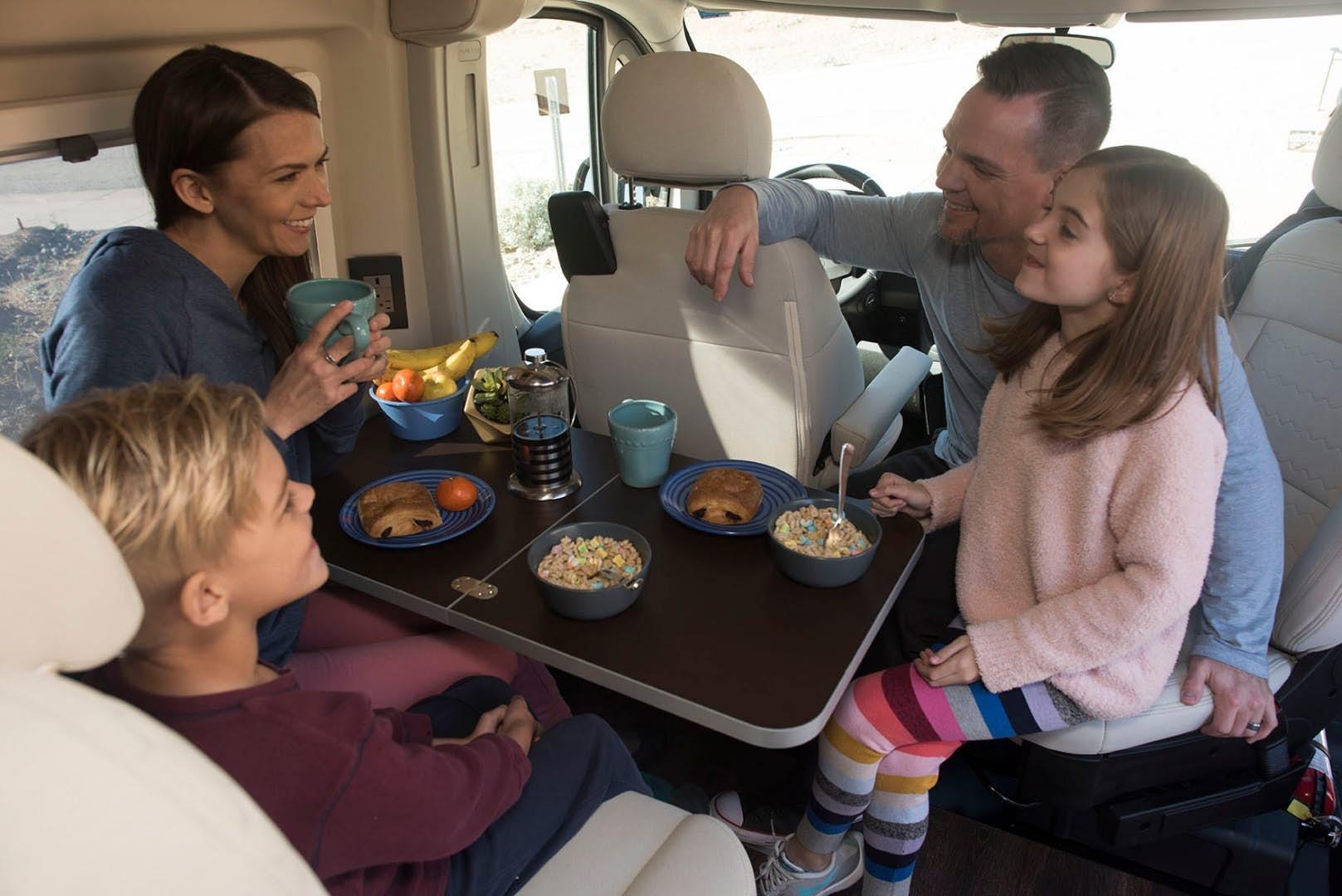 pop top camper - eating