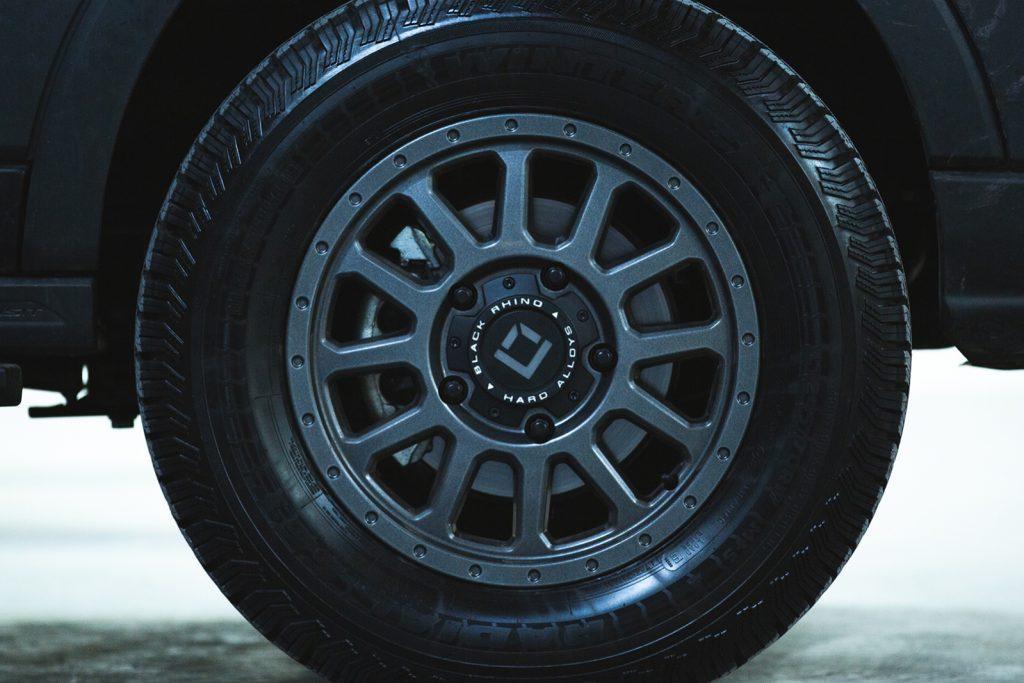 Outside Van custom tyres, black and rugged