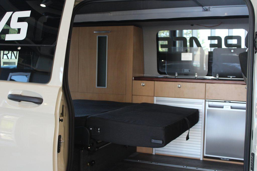 compact camper van - sleeping