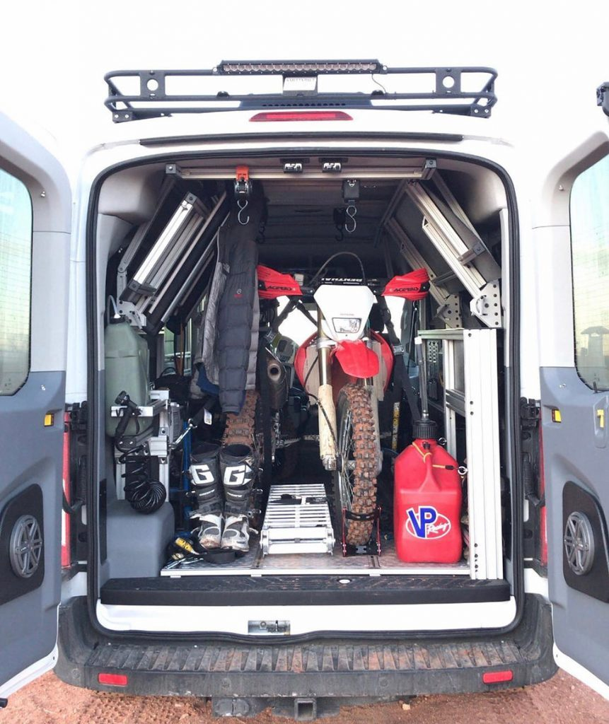 Van DO It full of gear, showing how much you can fit in the vehicle