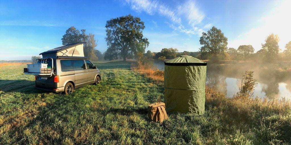 best trailer accessories - InstaPrivy toilet erected in the wild