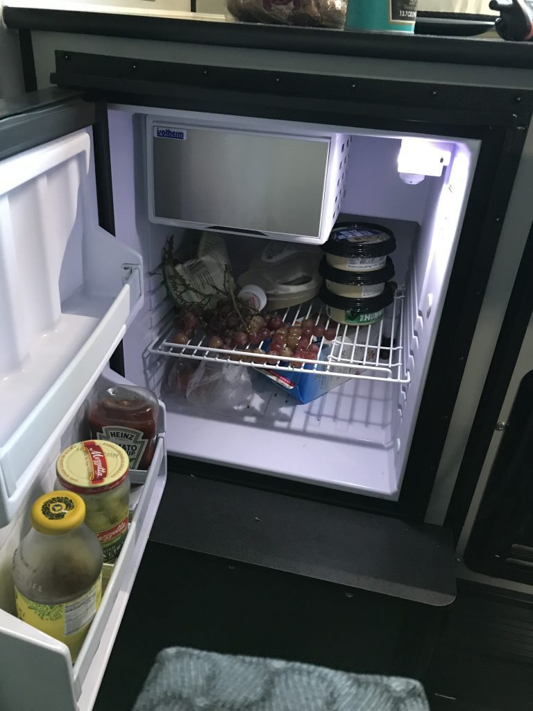 Spacious fridge inside the camper