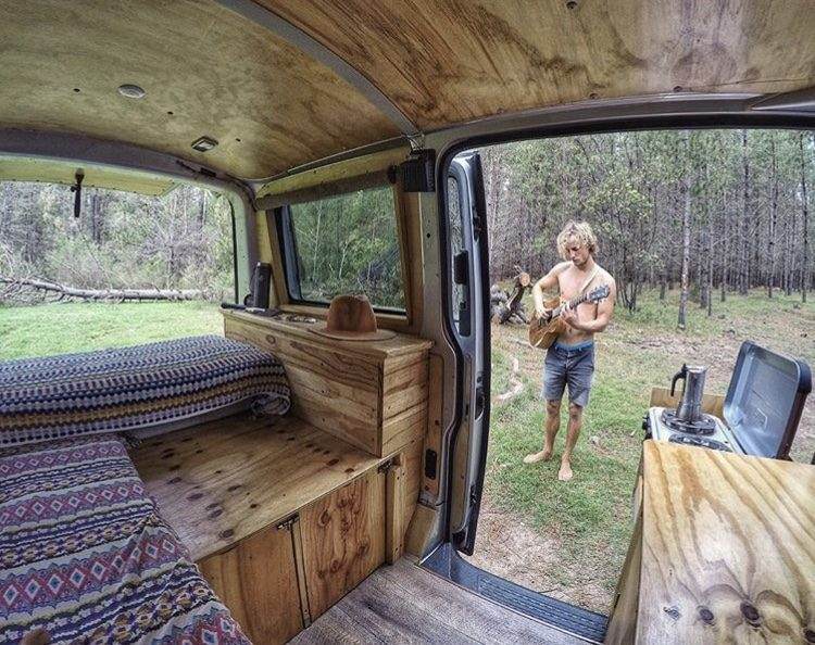 Wooden small van interior with L seat.