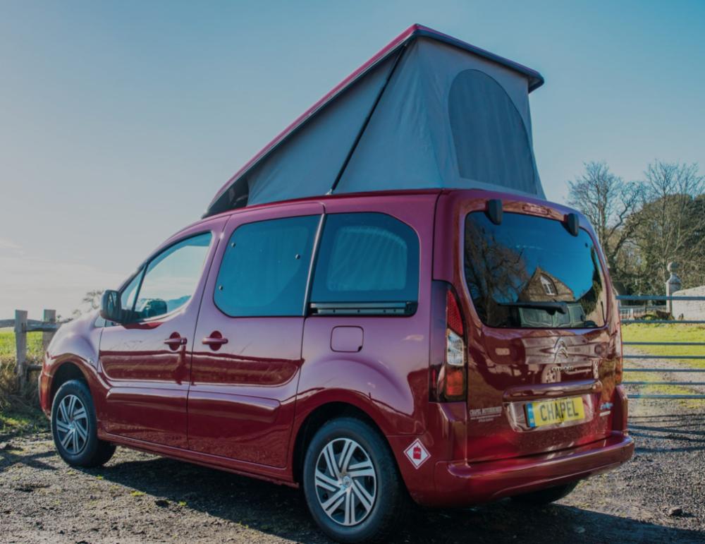 Red Citroen Berlingo small camper vans