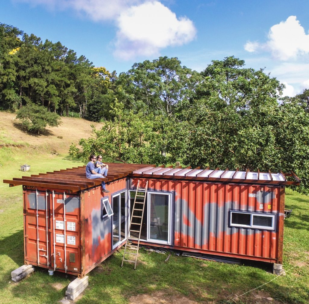 Exterior of shipping container home.