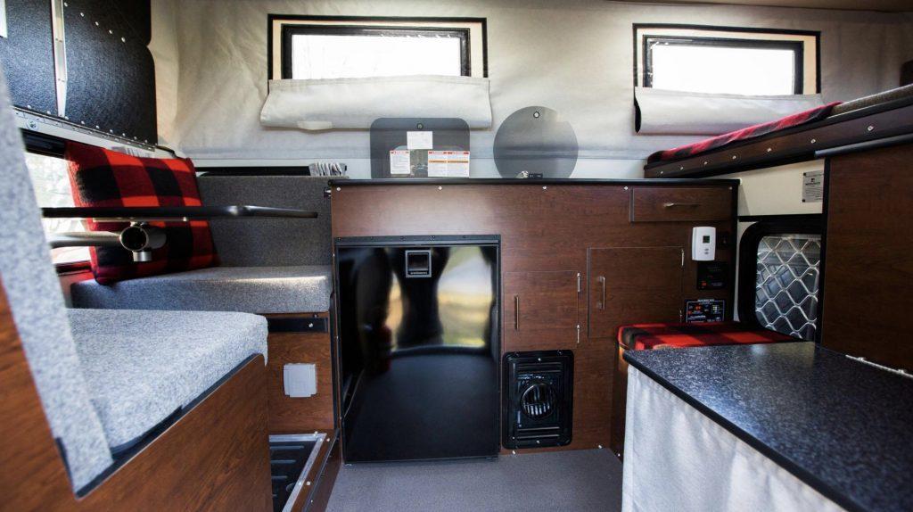 Living in a four wheel camper- interior of camper