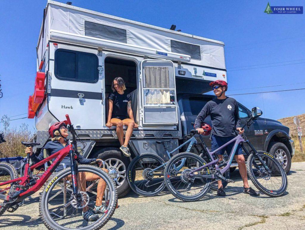 Four wheel camper and mountain bikes