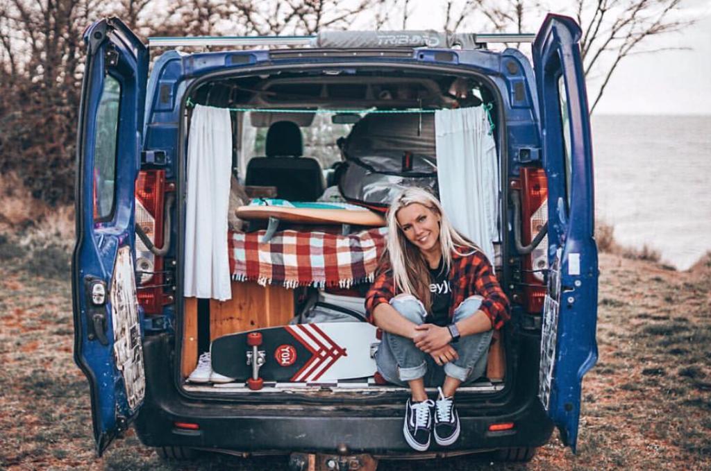 vanlifers - sitting in the back of the van