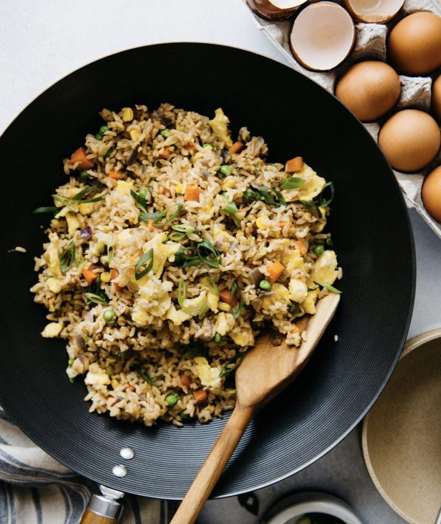 campervan recipes: egg fried rice in wok