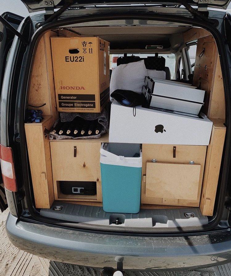 VW Caddy Camper being used as a moving van.