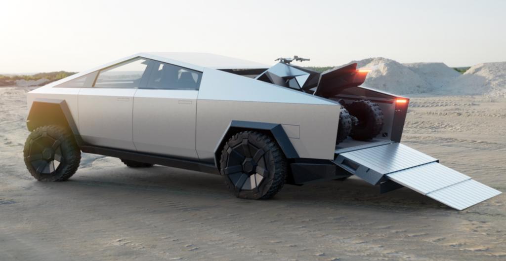 Tesla Truck Camper storing a gnarly ATV