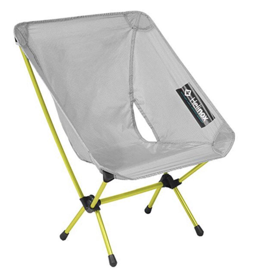 Grey henilox chair with green legs