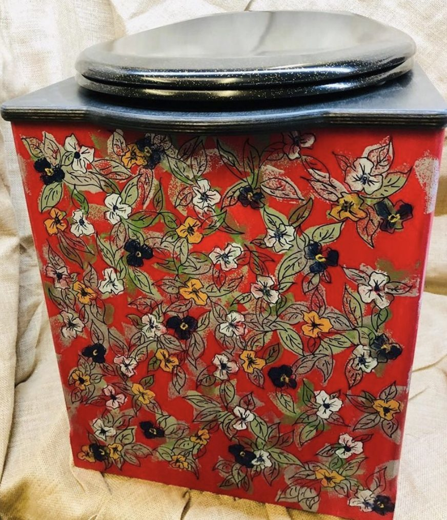 colourful flowery hand painted toilet