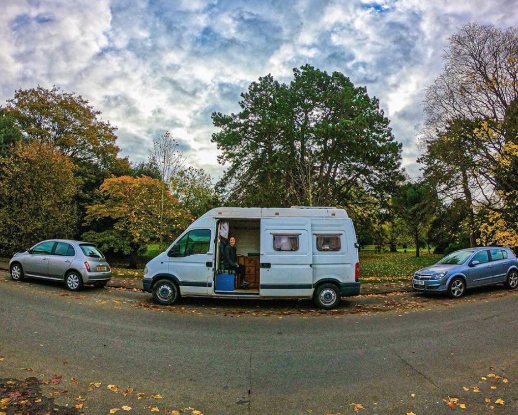 Parked up on the side of the road with Autumn leaves scattered about