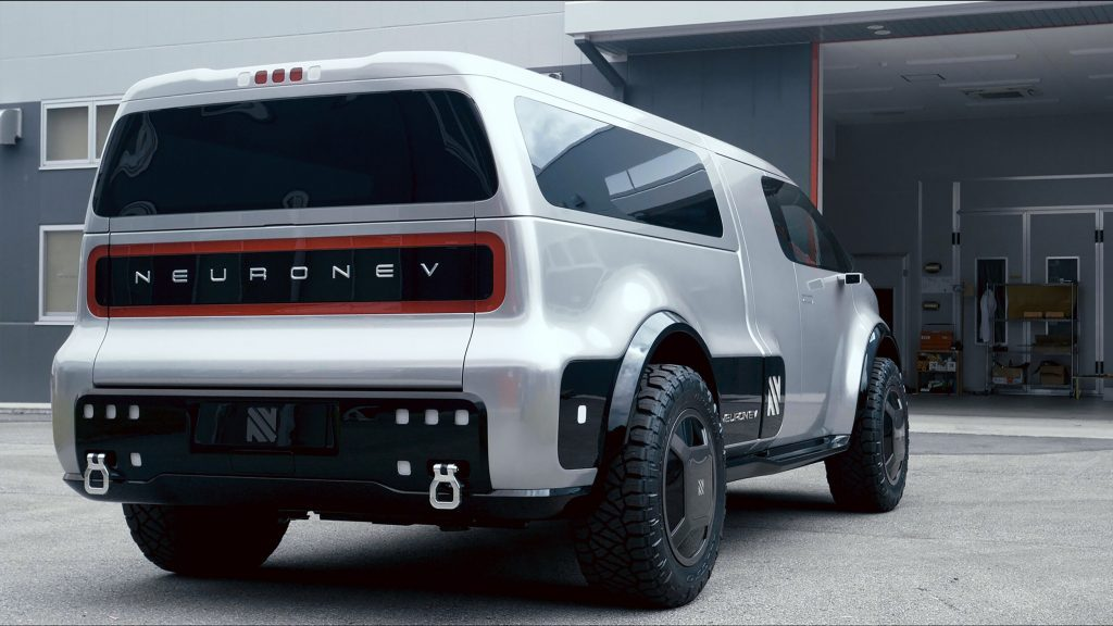 Rear of the Neuron EV Electric Truck in the daytime