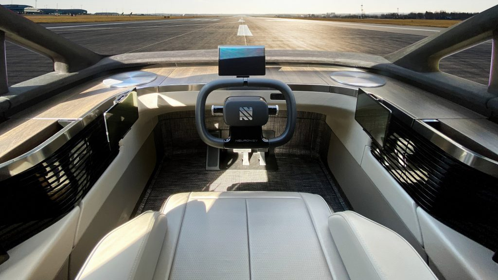 Neuron EV Electric Truck cockpit - this is where the magic happens. One seat in the very centre of the vehicle gives the driver an incredible range of sight