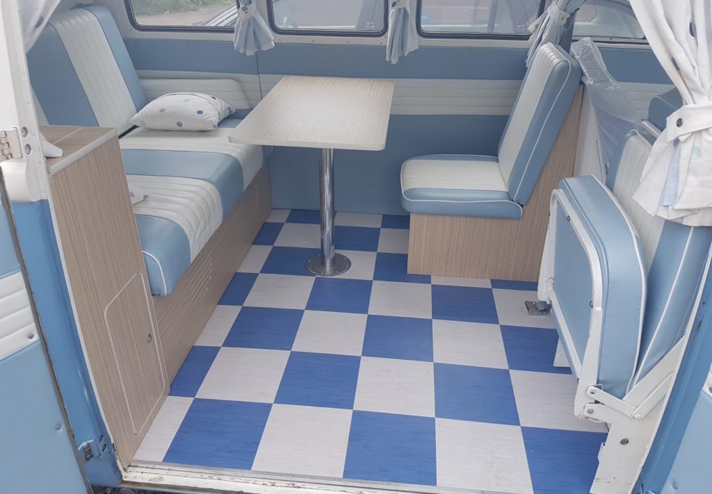 Pale Blue VW Bus Interior with checkered floor