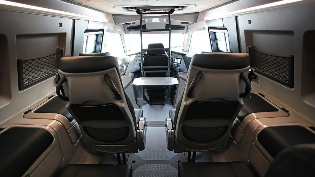 The seating arrangement in the Avtoros Shaman is very much like the Neuron EV Electric Truck, but can be adapted to your needs.