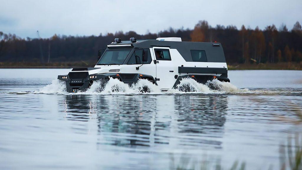 White Avtoros Shaman driving through water