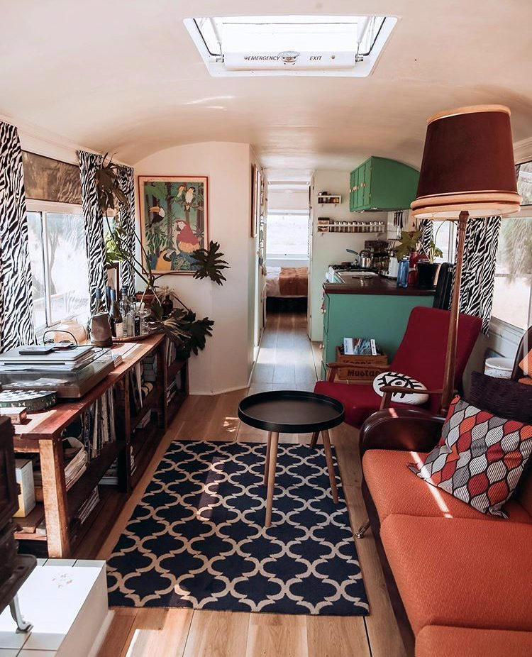 DIY camper van conversions - living room in bus