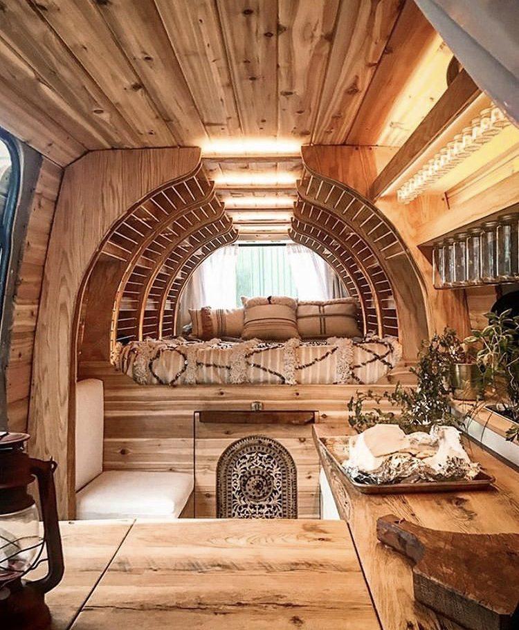 DIY camper van conversions - curved bed storage in vansteading's van
