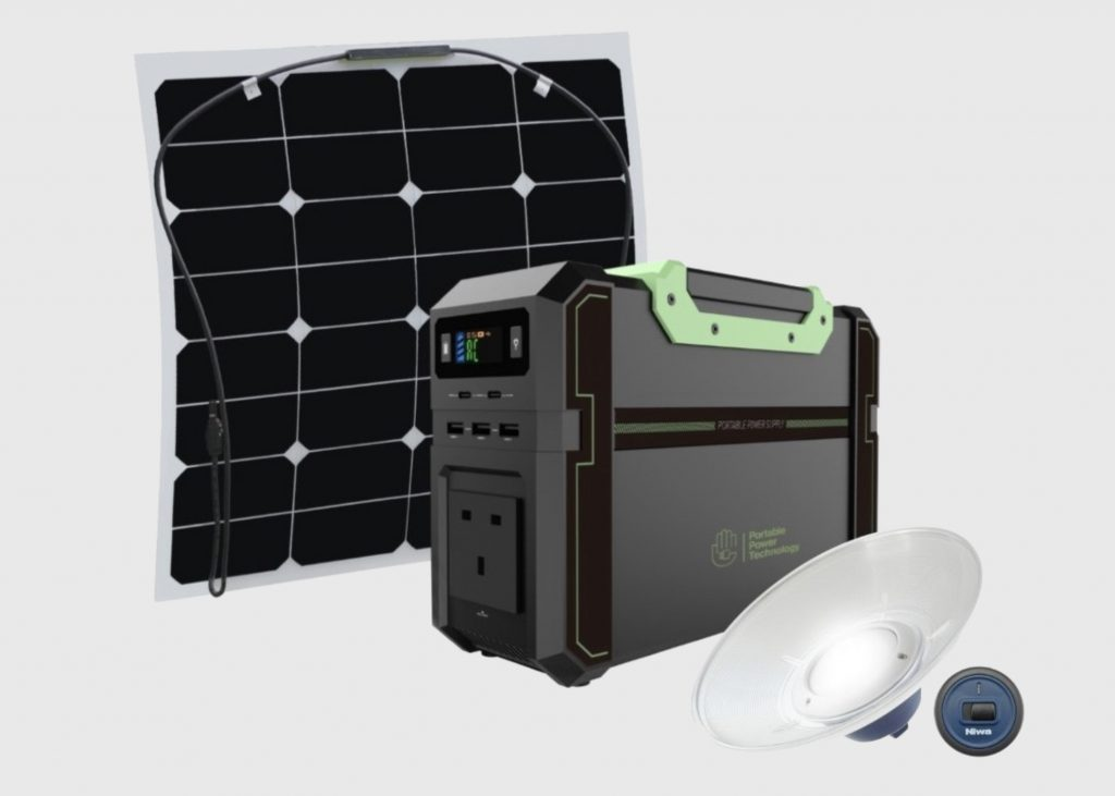 PPT powerpack and solar charging kit with usb lamp