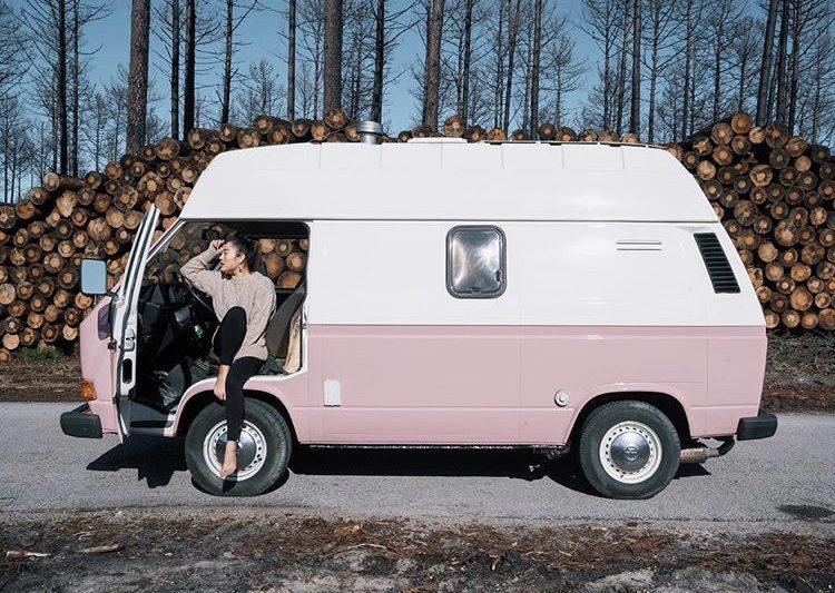 DIY camper van conversions - out side of pink VW