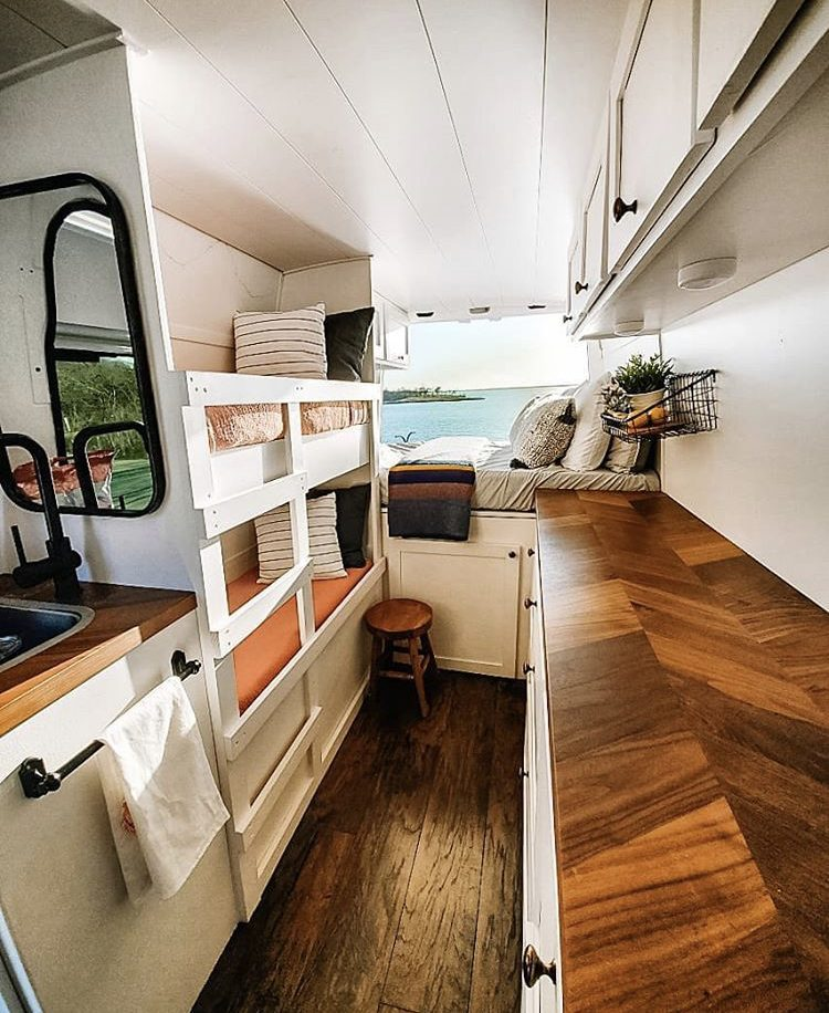 DIY camper van conversions - inside ramble and revive with bunk beds