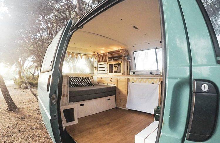 DIY camper van conversions 0 view infrom side door of Nafrada van with bed in seat mode