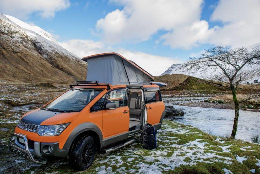 Best Adventurew Vans - Mitsubishi 4WD Terrain exterior by river in snowy mountains
