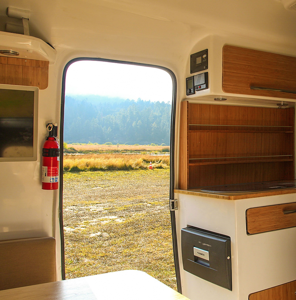 Happier Camper Traveller - looking out of the galley door at the scenery