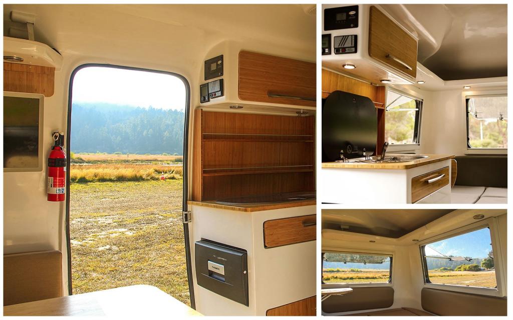 Happier Camper Traveller - montage of kitchen photos showing the interior
