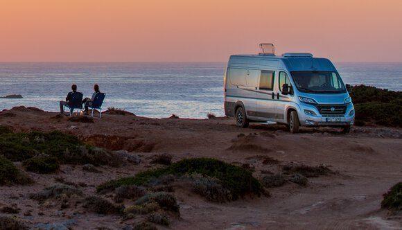 Best RVs- Carado CV600 exterior infront of sunset over ocean