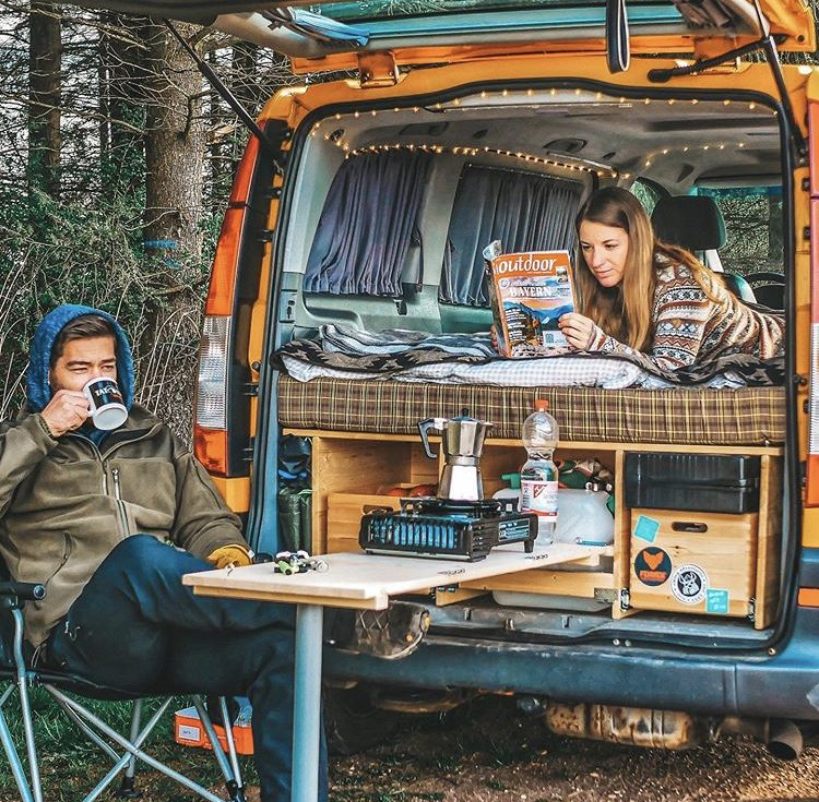 Custom van ideas - back of small van with pull out kitchen and bed.