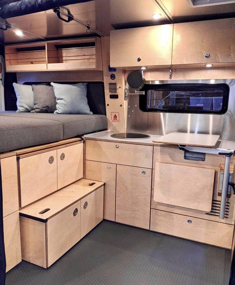 Plywood cabinetry inside van