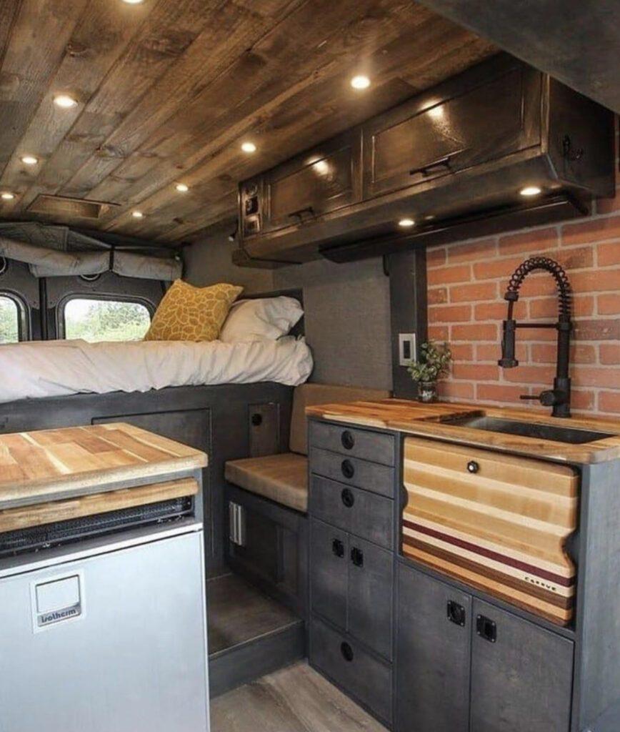 campervan interior with brick effect wall