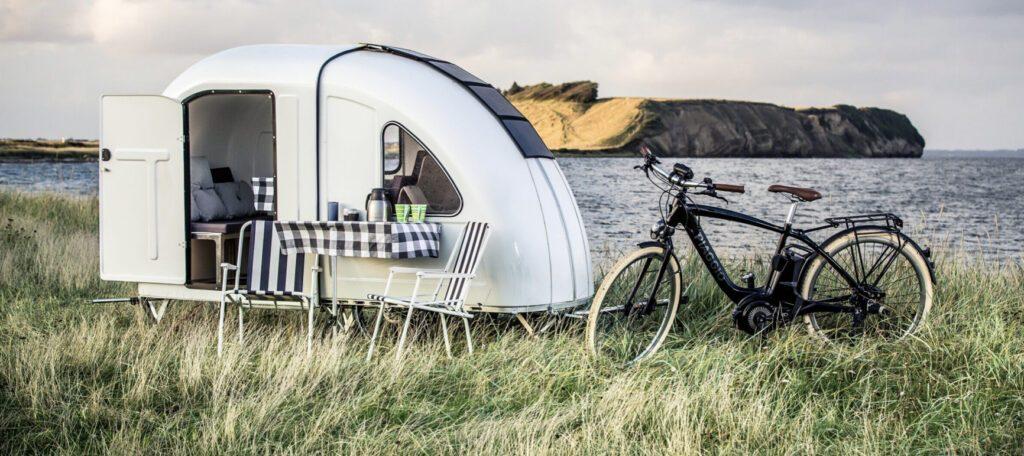 Crazy campervans - bike camper exterior next to bike