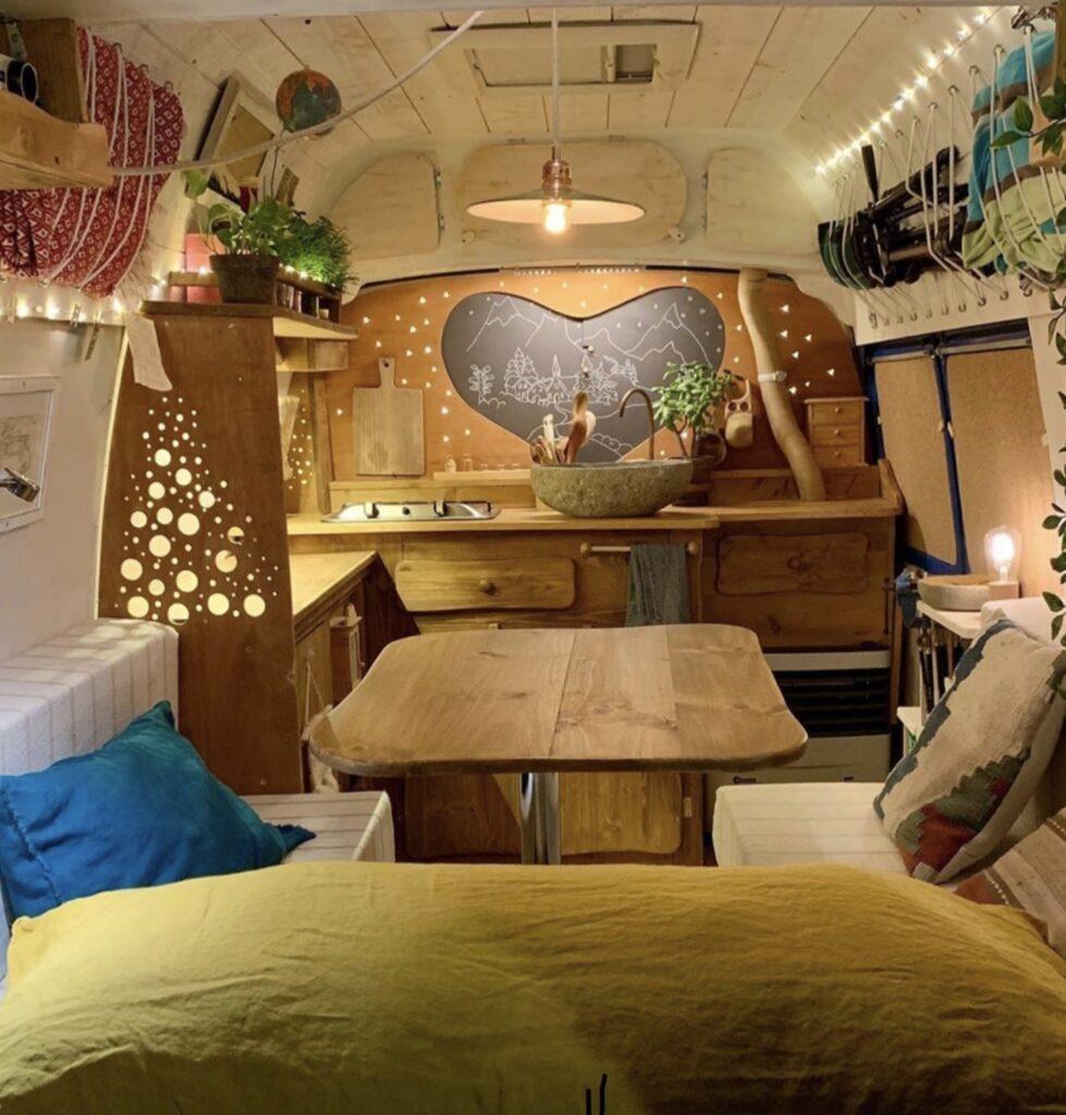 Heart bulkhead campervan interior