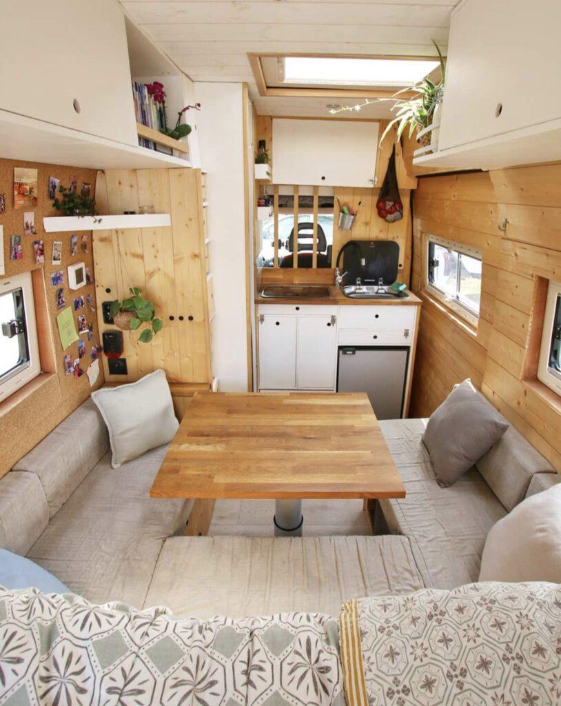 van with u-shaped sofa