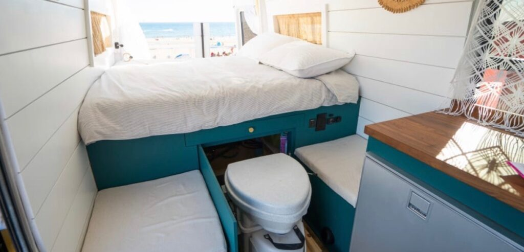Cassette Toilet stored under the bed