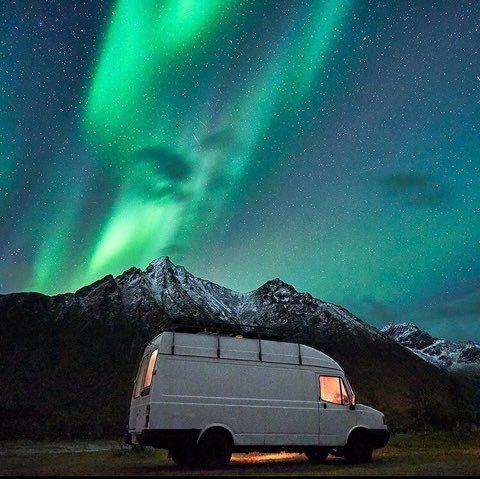 Van under the Northen lights