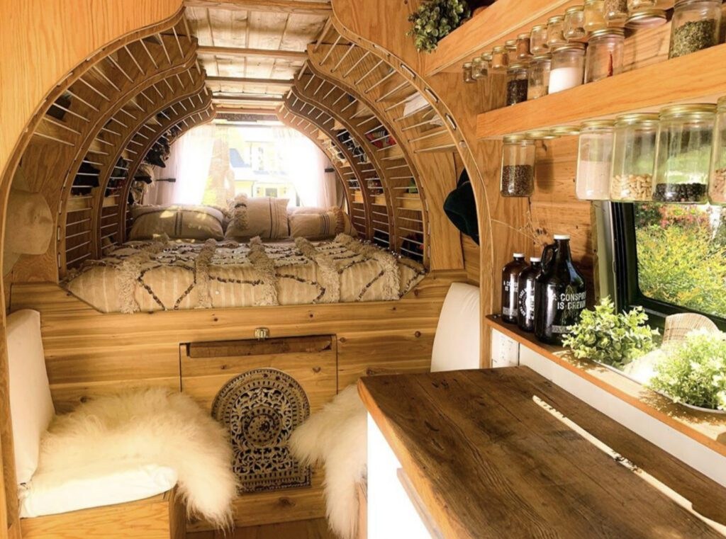 unique van with curved shelving